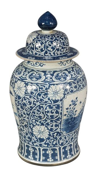 """Blue and White Porcelain Vase with Lid 31""""H Large Traditional"""