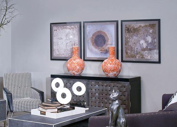 Globular VaseOrange Porcelain Traditional Dragon Motif