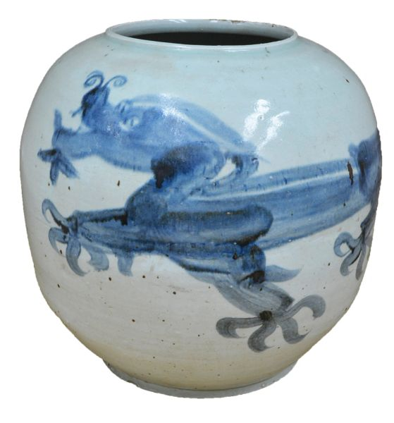 "Blue and White Dragon Vase 14""H Traditional Motif"