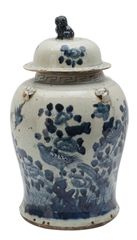 Blue and White Ceramic Ginger Jar Traditional Motif Birds