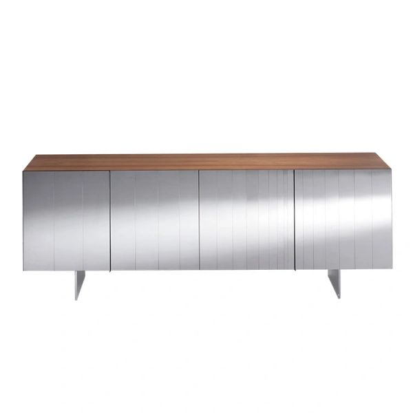 Mid Century Walnut Polished Steel Credenza Hand Made in Italy