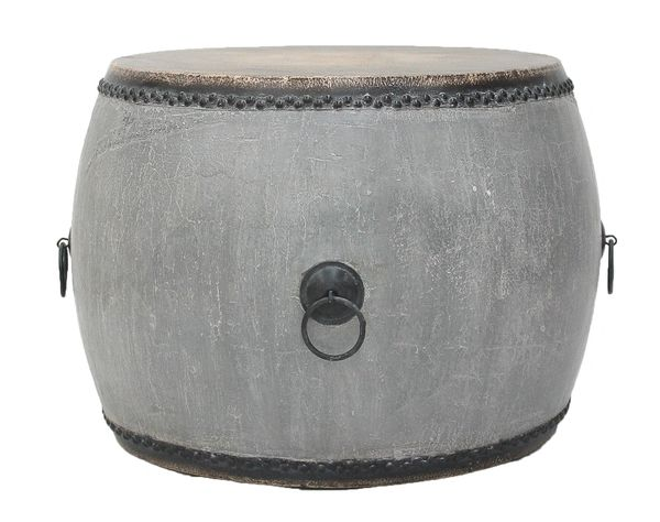 Drum SideTable Gray Crackled