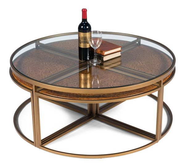 Kennedy Coffee Table Stools Leather Glass