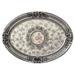 Silver Ceiling Medallion Oval Rocaille