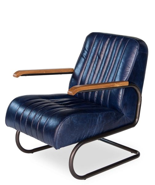 Bel Blue Leather Arm Chair