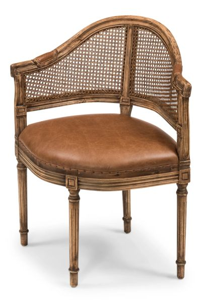 Louis 16th Bureau Chair Oak Cane Leather