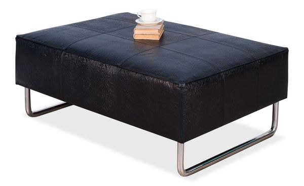 Black Leather Embossed Ottoman Bench