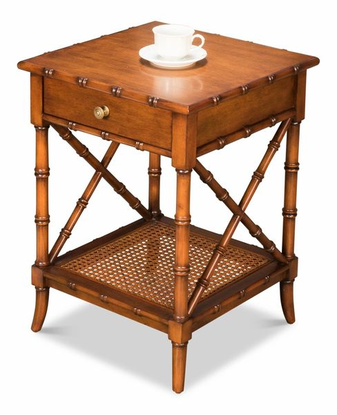 Bamboo Look Side Table Solid Walnut Cane