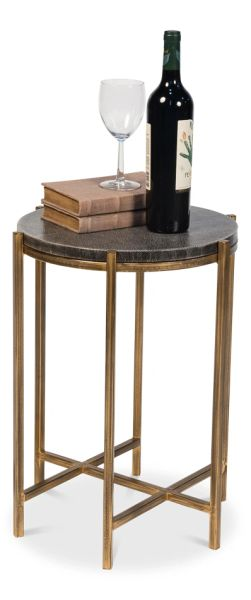 Shagreen Side Table Leather Black