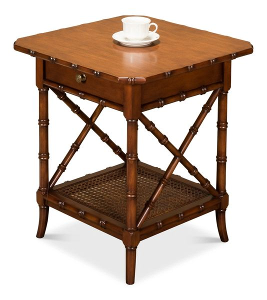 Bamboo Style Lamp Table Solid Walnut