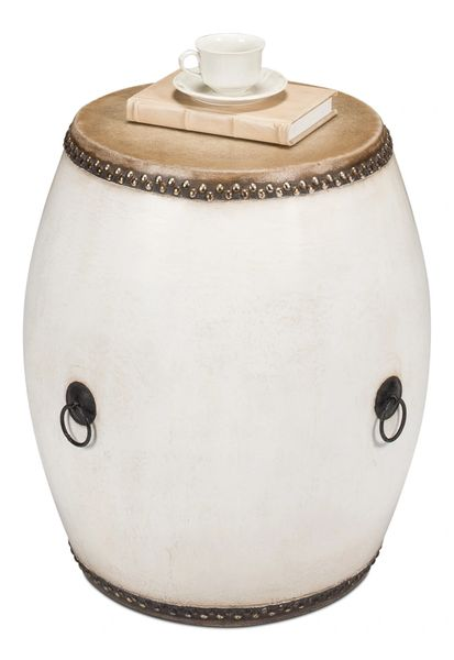 Drum End Table White Nailhead Trim