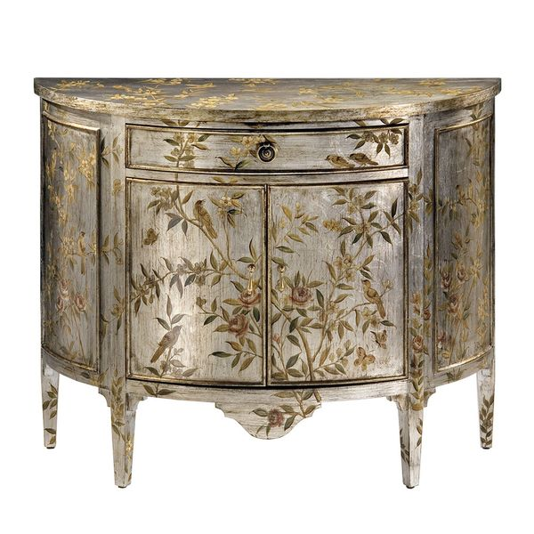 HAND-PAINTED DEMILUNE CABINET WITH FLORAL AND BIRD DESIGN ON AN ANTIQUED SILVERLEAF BACKGROUND