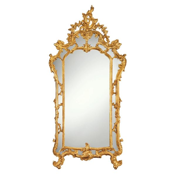 BAROQUE STYLE CARVED WOOD MIRROR WITH SCROLL AND LEAF DESIGN,