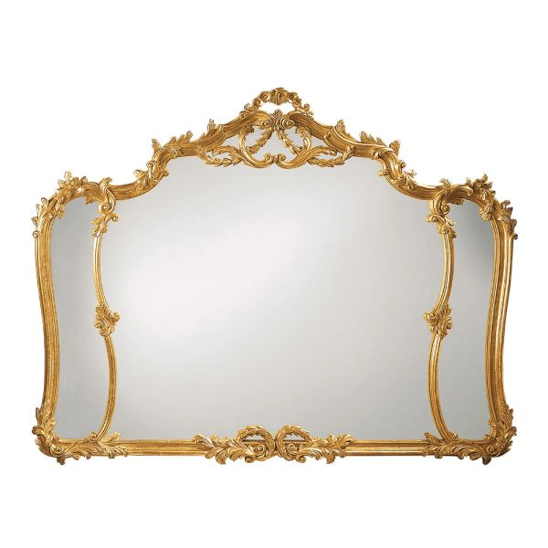 LOUIS XV STYLE CARVED WOOD MIRROR WITH LEAF MOTIF