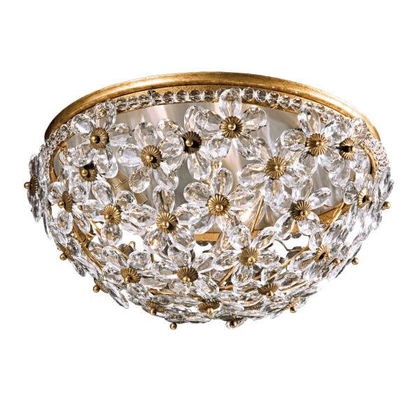 ROUND CEILING LIGHT WITH CRYSTAL FLOWERS AND ANTIQUED GOLDLEAF TRIM,