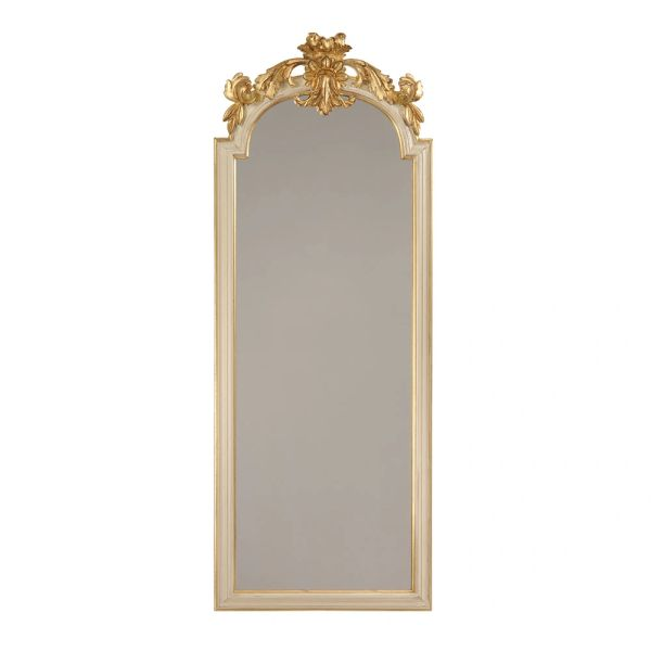 LOUIS XVI STYLE CARVED WOOD MIRROR WITH ANTIQUED WHITE FINISH AND GOLDLEAF TRIM