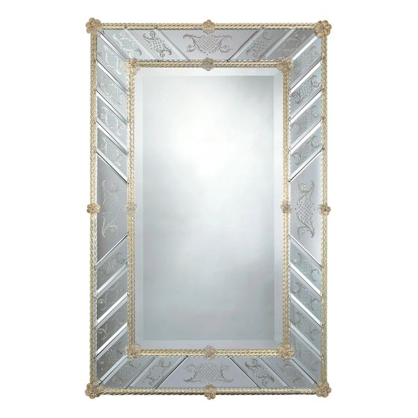 RECTANGULAR VENETIAN GLASS MIRROR WITH HAND-ETCHED BEVELED GLASS
