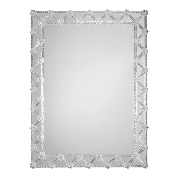 RECTANGULAR VENETIAN MIRROR TRIMMED WITH GLASS RIBBONS AND ROSETTES