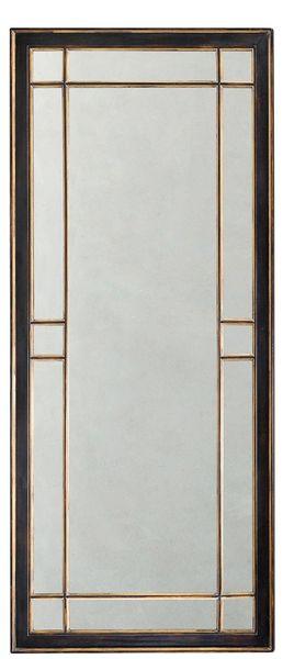 Art Deco Mirror Solid Oak Tall Black