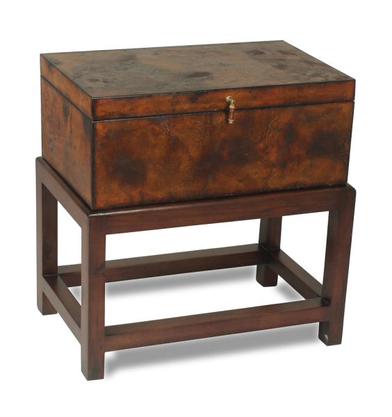 Ranch Hand Box on Stand Wood and Leather