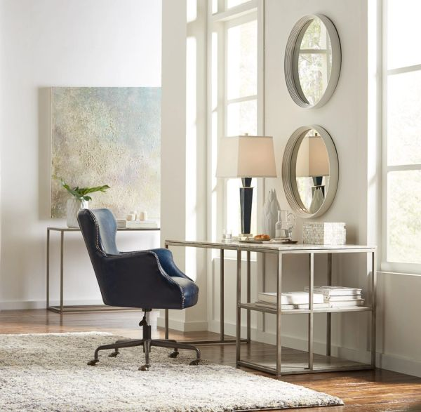 Open Desk Iron with Marble Top and Shelves