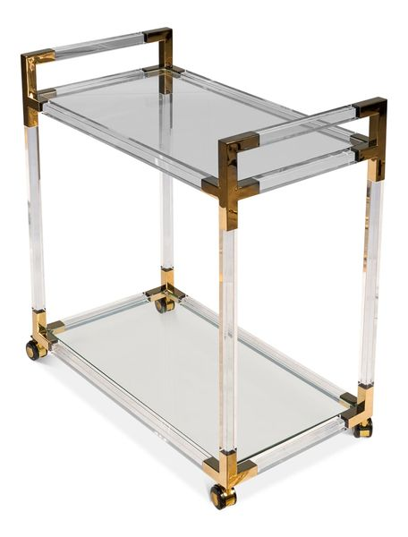 Tempered Glass Trolley Gold Toned Accents