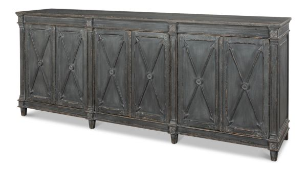 Crossed Arrow Sideboard Reclaimed Pine Concrete Gray