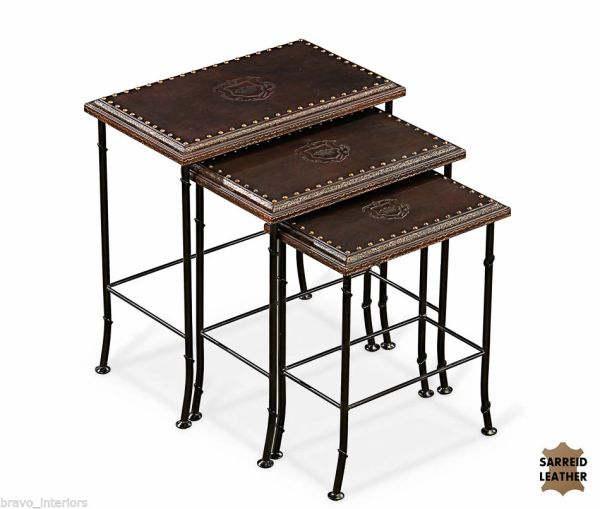 Leather Nesting Tables Set of 3 Embossed