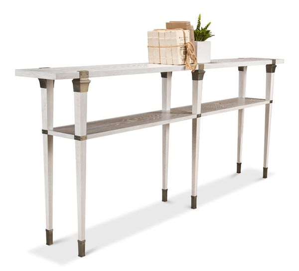 Avenue Console Table White Wash Brass Foot Trim