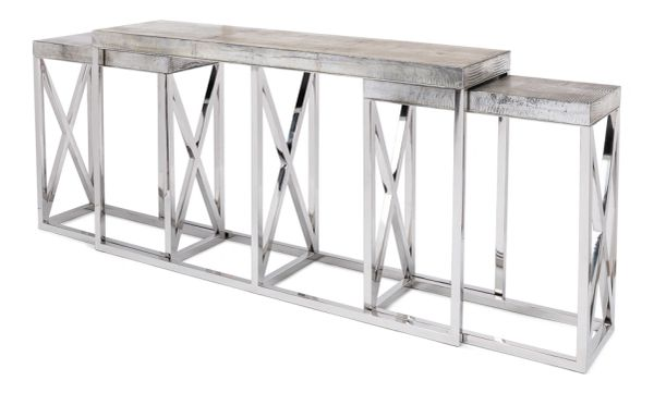 Silver Metallic Lether Nesting Table Consoles Stainless Steel