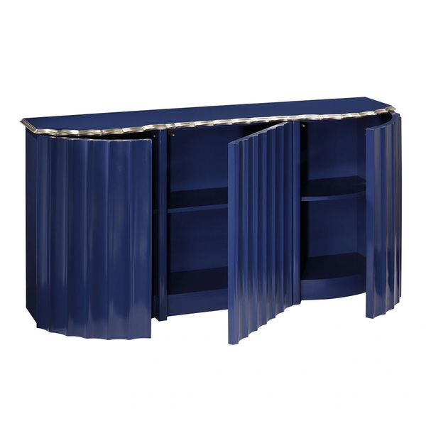 Credenza Lacquered Blue Hand Made in Italy Antiqued Silverleaf Trim