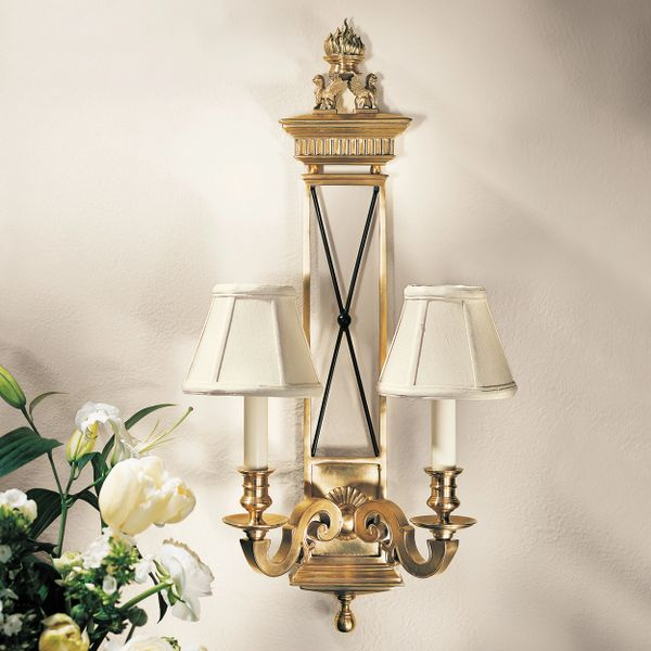 Antiqued Solid Brass Two Light Electrified Sconce