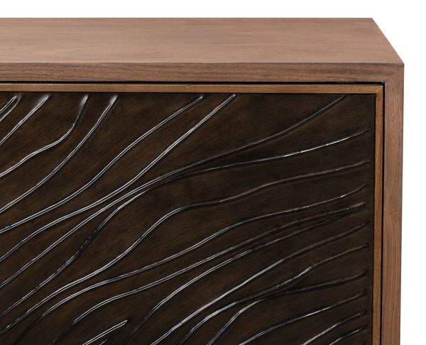Entertainment Cabinet Knotty Walnut Metal Inlay on Doors