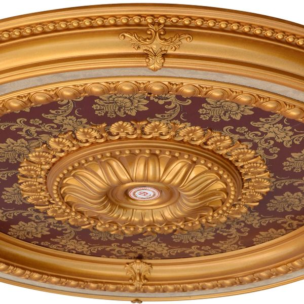 """Red Ceiling Medallion Round w/ Gold Accent 47"""" Dia"""