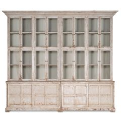 Farmhouse Bookcase Display Cabinet Glass White