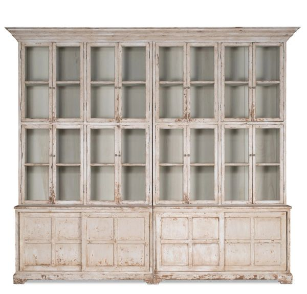 Farmhouse Bookcase Display Cabinet Glass White