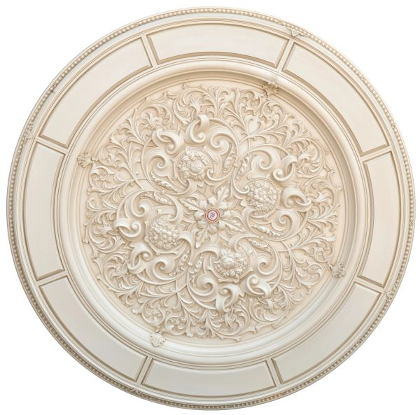 "Cream Curved Ceiling Chandelier Medallion 72""D"