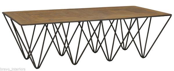 Modern Coffee Table Pine Parquet Top & Iron Base