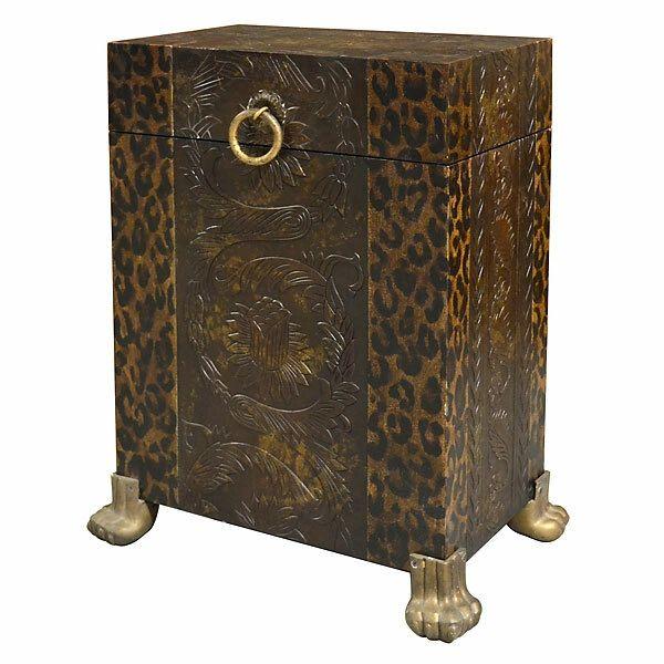Leopard Print Trunk Side Table Storage
