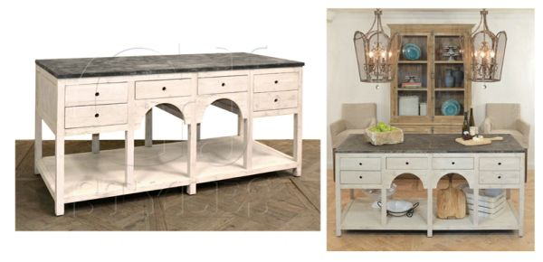 Antique White Kitchen Island with Distressed Blue Stone Top