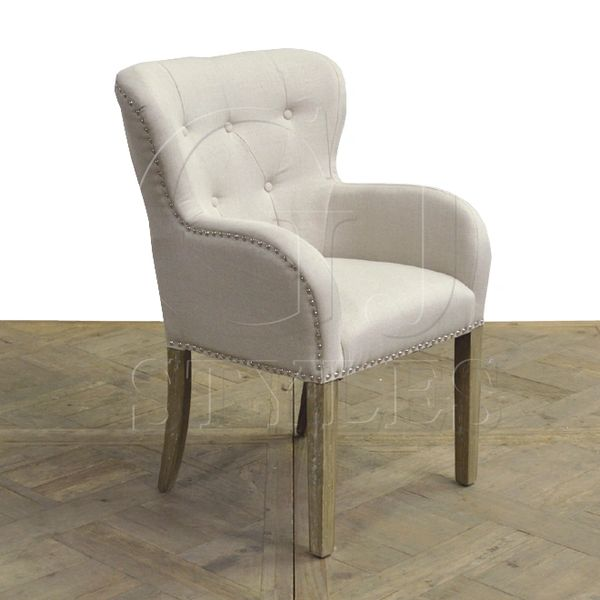 Rounded Wingback Arm Chair Ecru Linen