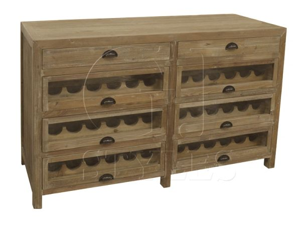 Double Wine Chest Cabinet Bar Pine