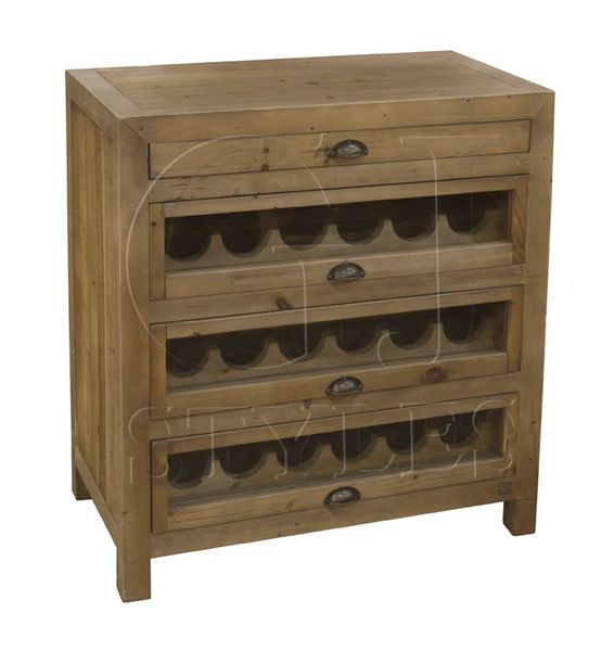 Wine Cabinet Reclaimed Pine Bar Storage