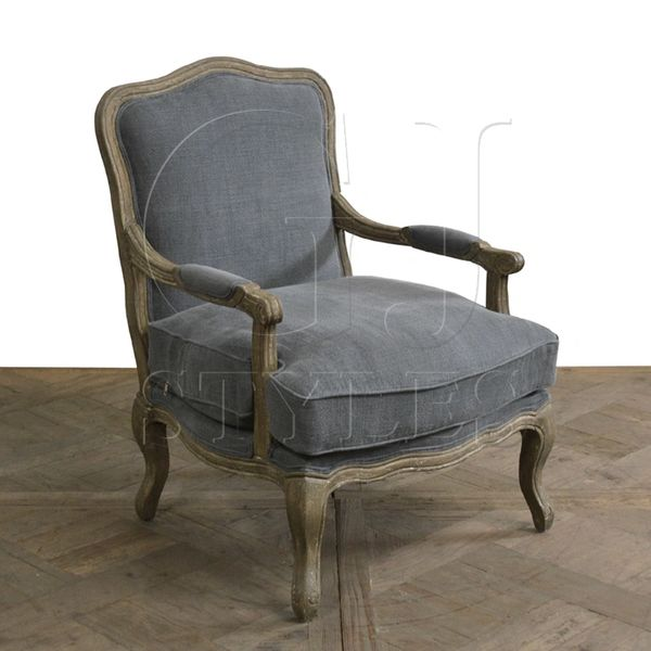 French Blue Linen Chair with Washed Oak Frame