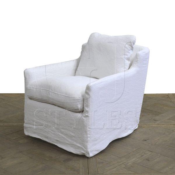 Swivel Belgium White Linen Slipcover Washable Chair
