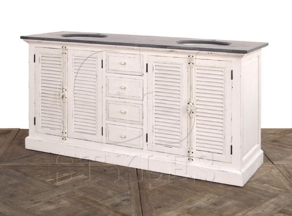 Double Vantity White Louvered Doors Blue Stone Top Reclaimed Pine