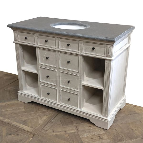 White Distressed Singe Vanity Open Storage Drawer Blue Stone Top