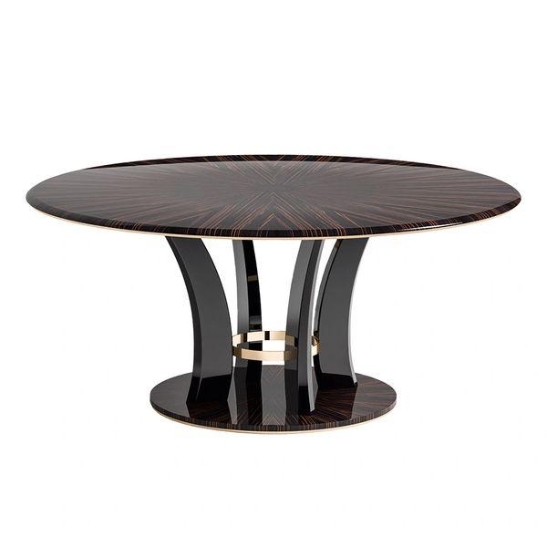 Dining Table Handmade in Italy High Gloss Ebony Veneer Metal Trim