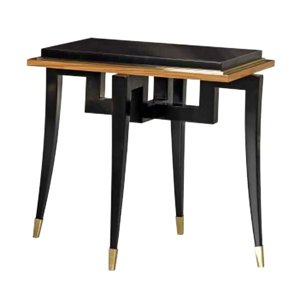 Rectangular Wood Side Table High Gloss Black Made in Italy