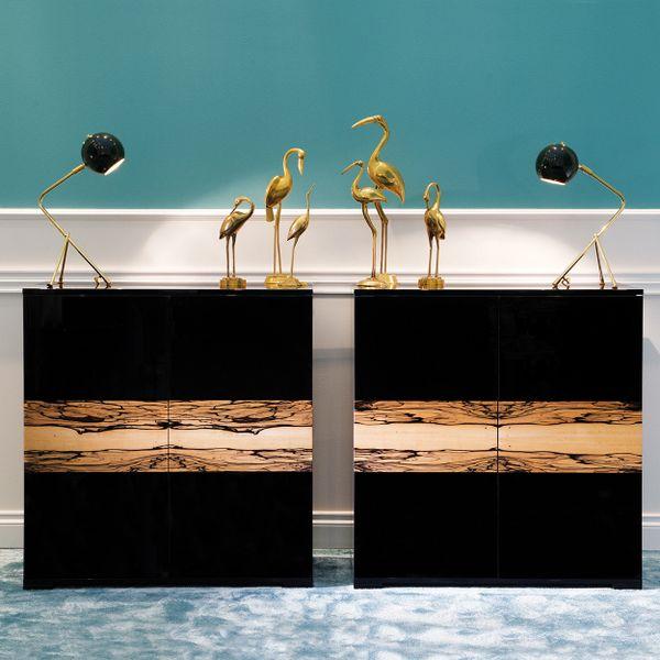 High Gloss Black 2 Door Cabinet Handmade in Italy